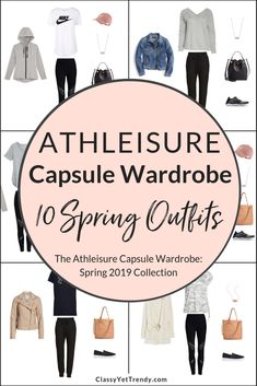 Athleisure Spring 2019 Capsule Wardrobe Preview 10 Outfits - Transform your closet with an activewear wardrobe that goes from the gym to casual wear! Just 22 clothes and shoes will create 100 outfit ideas, included in the eBook! Includes leggings, jogger pants, tee, sweatshirt, pullover, zip hoodie, utility jacket, denim jacket, Moto jacket, athletic sneakers and slip on sneakers.