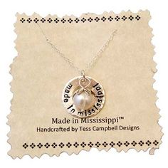 This hand stamped necklace is a great choice for Mother's Day. www.MSGifts.com/stamped-made-in-mississipi-with-pearl.aspx
