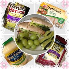Only (4pts) Turkey Sandwich :):):)  Deli Fresh Turkey about 5slices(1), 1Tbsp Light Mayonnaise(0), 2 Slices of Toast Bread(2),1Slice PepperJack Cheese(1), Iceberg Lettus(0), Fresh Basil(0),Grapes(0), Cucumbers(0)