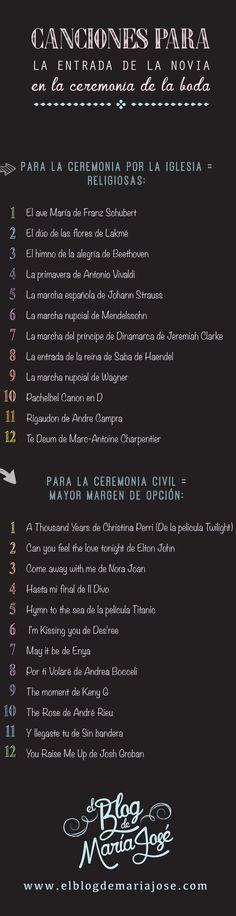 Canciones para la entrada de la novia en la ceremonia de la boda ya sea religiosa o civil #bodas #ElBlogdeMaríaJosé #ceremoniaboda #ceremoniareligiosa #ceremoniacivil #cancionesboda #músicaboda #weddings #infografía