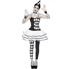 "5-tlg. Harlekin-Kostüm ""Clowness"" Karneval Mottoparty Fasching Harlekinkostüm: Kleid, Stulpen, Slip, Halskrause, Haarreif"