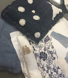 Kids' Japanese boro cushion workshop - old jeans, old sheets, an old yukata, and a lace tablecloth... #workshop #cloth #stitch #Japan #rhondapryor