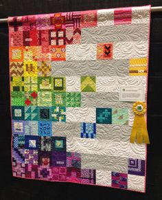 Sampler of Tula Pink City Sampler blocks by Diary of a Quilt Maven.  I like the unusual setting.