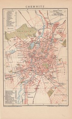 1894 CHEMNITZ Deutschland * Historischer Stadtplan / Antique City Map Print