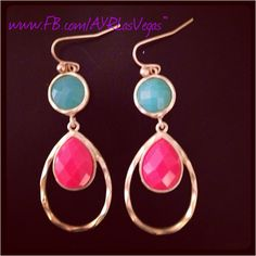 Turquoise and coral gold drop earrings