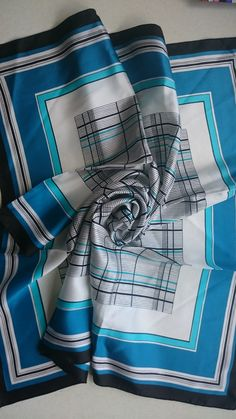 Pure Silk Square Scarf - Retro Geometric in Blues, Black and White - Perfect Unused Vintage Stock from 1980s by JohnTjadenScarves on Etsy