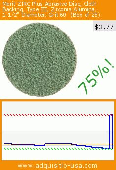 "Merit ZIRC Plus Abrasive Disc, Cloth Backing, Type III, Zirconia Alumina, 1-1/2"" Diameter, Grit 60  (Box of 25) (Misc.). Drop 75%! Current price $3.77, the previous price was $15.33. http://www.adquisitio-usa.com/merit/zirc-plus-abrasive-disc-9"
