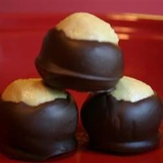 This recipe is so good that I double it whenever I make it. Since it is peanut butter balls dipped in chocolate it is almost like candy.  Real buckeyes are nuts that grow on trees and are related to the horse chestnut.