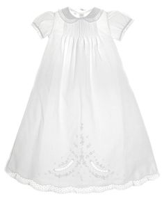 NEW Feltman Brothers Long Christening Gown with Lace Edged Collar and Lace Insertion $125.00