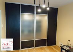 walk in wardrobe, custom built sliding doors