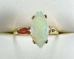 Vintage Opal Ring 14kt Gold Genuine White Opal Marquise Cut 1970s Engagement