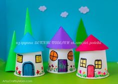 Recreate your childhood memories with this Paper Cup Miniature Village craft - Fun, Frugal and so easy to make a town paper display with young kids. Arts And Crafts Storage, Diy Arts And Crafts, Creative Crafts, Easy Crafts, Paper Cup Crafts, Paper Crafts For Kids, Cardboard Crafts, Paper Cups, Fairy House Crafts