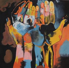 Guayasamin, Diversity Hands cubism ecuadorian art acrylic paintings