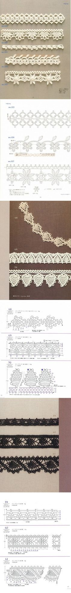 Ideas For Crochet Edging Patterns Lace Ganchillo Crochet Boarders, Crochet Edging Patterns, Crochet Lace Edging, Crochet Diagram, Crochet Chart, Crochet Doilies, Crochet Flowers, Knitting Patterns, Crochet Edgings