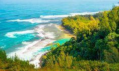 Ke'e Beach as seen from the Kalalau Trail