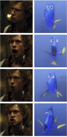 Enjolras speaks Whale...never seen 'Finding Nemo' (I'm assuming the pictures on the right are from that film) but this is still hilarious =)