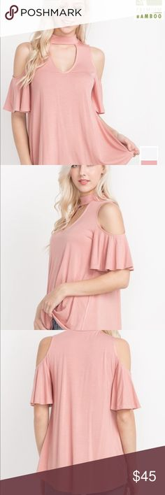 Eco-Friendly Open Shoulder Top Beautiful eco-friendly clothing is made out of premium bamboo fabric!! Blush Open shoulder styling with choker style collar! Garment Care: Hand Wash Cold! Sizes: Small Medium Large Tops Blouses