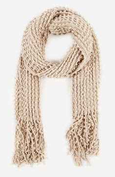 Nubby Knitted Scarf in Beige