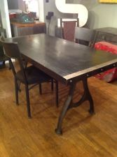 Reclaimed Bowling Alley Table With Hand Cast Iron Legs