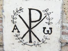 Domitilla Catacombs, Rome (circa C) Alpha and Omega (A and W), the two letters that signify the beginning and the end (the first and last). The X and P (Chi and Rho) stand for the first letters of Christ's name (Christos). Spiritual Symbols, Sacred Symbols, Ancient Symbols, Sacred Art, Religious Tattoos, Religious Art, Early Christian, Christian Art, Holy Tattoos