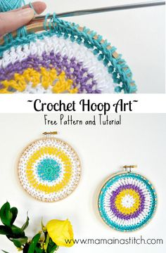 Crochet Hoop Art - an easy, free pattern for a small mandala that is put into a hoop for display. Crochet Art, Crochet Home, Crochet Crafts, Yarn Crafts, Crochet Projects, Free Crochet, Crochet Patterns, Mandala Crochet, Crochet Afghans