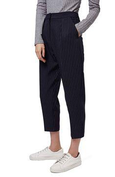 Topshop Pinstripe Crop Trousers (Petite)