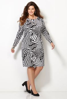 Tribal Print Sheath Dress-Plus Size Sheath Dress-Avenue
