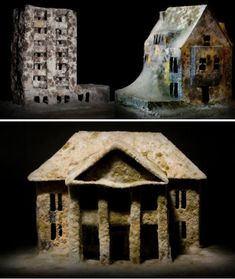 miniature houses left to decay