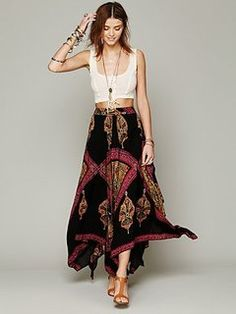 maxi skirt and cropped top ##