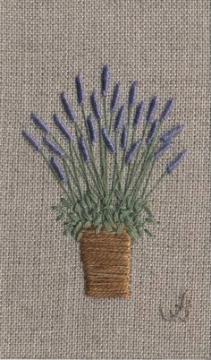 Jo Butcher, Embroidery Artist - Lavender Pot (medium)