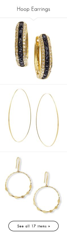 """""""Hoop Earrings"""" by lacie-nicole ❤ liked on Polyvore featuring jewelry, earrings, white, 14k yellow gold earrings, diamond hoop earrings, 14k gold earrings, gold post earrings, gold hoop earrings, gold and jewelry earrings"""