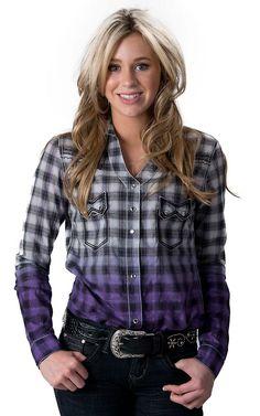 Rock 47 by Wrangler Women's Purple & Black Dip Dye Plaid Long Sleeve Western Shirt