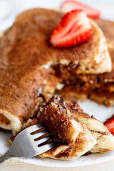 Chocolate Stuffed Churro Pancakes | http://cafedelites.com