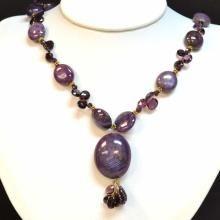 Cabochon Ruby Star Sapphire & Garnet Necklace