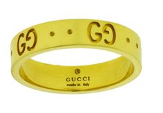a874baf1201a55 Gucci Icon thin band band ring in 18 karat yellow gold new in box size 5.25