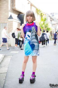 Kyary Fan in Harajuku w/ Panda x Pisa Dress, Yosuke Sandals, Monster Backpack & O-Ring Choker (Tokyo Fashion, 2015)
