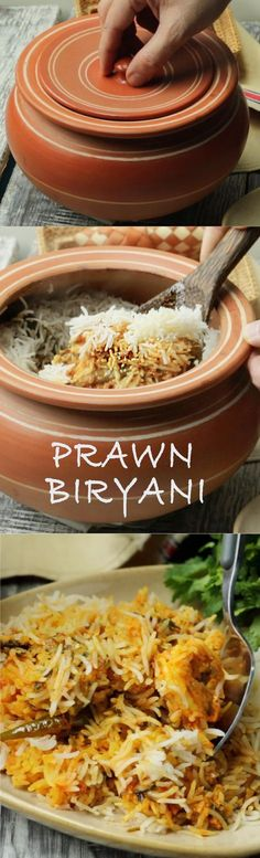 We ❤ this flavorful biryani! Delicious prawn biryani layered and cooked on dum - specially for seafood lovers! Prawn Biryani Recipes, Prawn Recipes, Veg Recipes, Indian Food Recipes, Chicken Recipes, Cooking Recipes, Keema Recipes, Curry Recipes, Cooking Tips