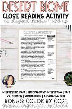 Printable Close Reading Activity with Color By Code Important Vs Interesting Fact vs Opinion Interpreting Data Summarizing Text Annotation Close Reading Lessons, Close Reading Activities, Reading Resources, Annotating Text, Desert Biome, 6th Grade Reading, Simple Prints, Reading Passages, Biomes