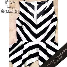 hpAkira Black Label Striped Peplum Top Black and white striped sleeveless peplum top with v neck and zip up back. 70% polyester 26% acrylic 4% spandex. AKIRA Tops