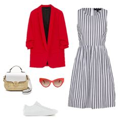 One Blazer, 3 Ways. Grey striped dress+white sneakers+red blazer+wicker crossbody-bag/ basket-bag+red cat-eye sunglasses. Spring/ Summer Casual Date Outfit 2018