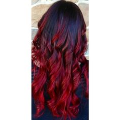 Best Temporary Vivid Red Hair Dye Set FIRE RED 6 Dark Red Hair Color ❤ liked on Polyvore featuring beauty products, haircare, hair color, hair and hairstyles