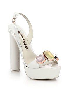 Sophia Webster Jemima Jeweled Leather Platform Sandals