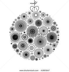 stock photo : Black and White Christmas tree ball decoration illustration.