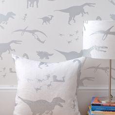 PaperBoy D'ya-think-e-saurus White Wallpaper - Boys Bedroom - http://godecorating.co.uk/paperboy-dya-think-e-saurus-white-wallpaper/