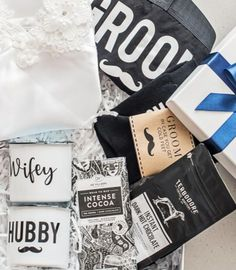 """We couldn't forget about him - so we snuck some man spoils into our popular """"Honeymoon GIft Box. New Product, Product Launch, Curated Gift Boxes, Honeymoon Gifts, Hot Chocolate, Perfect Wedding, Forget, Wedding Day, Popular"""