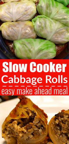 Slow Cooker Cabbage Rolls meal idea for busy nights. Less than 15 minutes to prepare. Then throw the cabbage rolls in the slow cooker to cook all day. Add these to your meal plan. Great to make ahead and freeze for an easy freezer meal idea. Crock Pot Recipes, Slow Cooker Recipes, Cooking Recipes, Healthy Recipes, Slow Cooker Meals Healthy, Crockpot Cabbage Recipes, Slow Cooker Freezer Meals, Slow Cooked Meals, Delicious Recipes