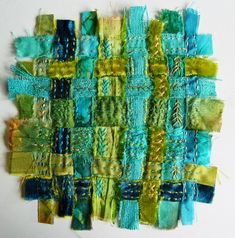 and or machine decorative stitch strips and weave    Turquoise Spirit Cloth