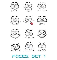Cartoon faces with different emotions vector - by Seamartini on VectorStock®