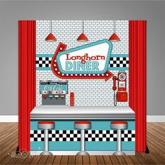 Diner Table Banner Backdrop with Table Wrap/ Step & Rep – Woo'em Design 1950s Diner, Retro Diner, Backdrop Design, Banner Backdrop, Sock Hop Party, 50th Party, Retro Party, Retro Ideas, Wonderland Party