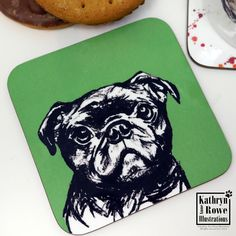 Pug, Pug Gift, Love Pugs, Funky Pug, New Home, Birthday, Wedding, Anniversary, Dogs, Coaster, Cup Mat, Bulldog Coaster, Dog Gift Watercolour Drawings, Cute Coasters, Chihuahua Art, Letterbox Gifts, Cup Mat, American Cocker Spaniel, Different Dogs, Dog Cards, Whippet